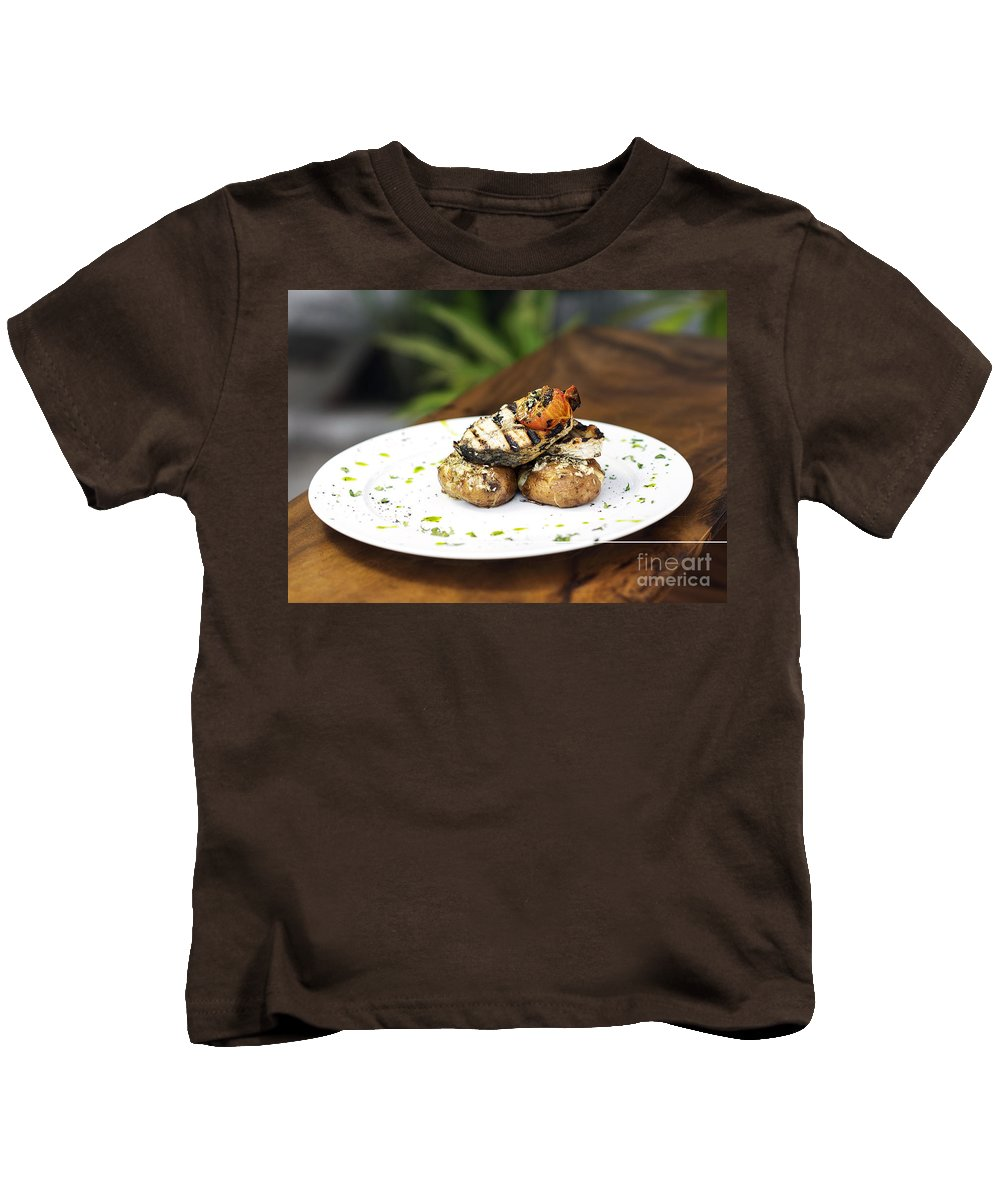 Barbecued Kids T-Shirt featuring the photograph Grilled Fish With Roast Potato Herbs And Garlic by Jacek Malipan