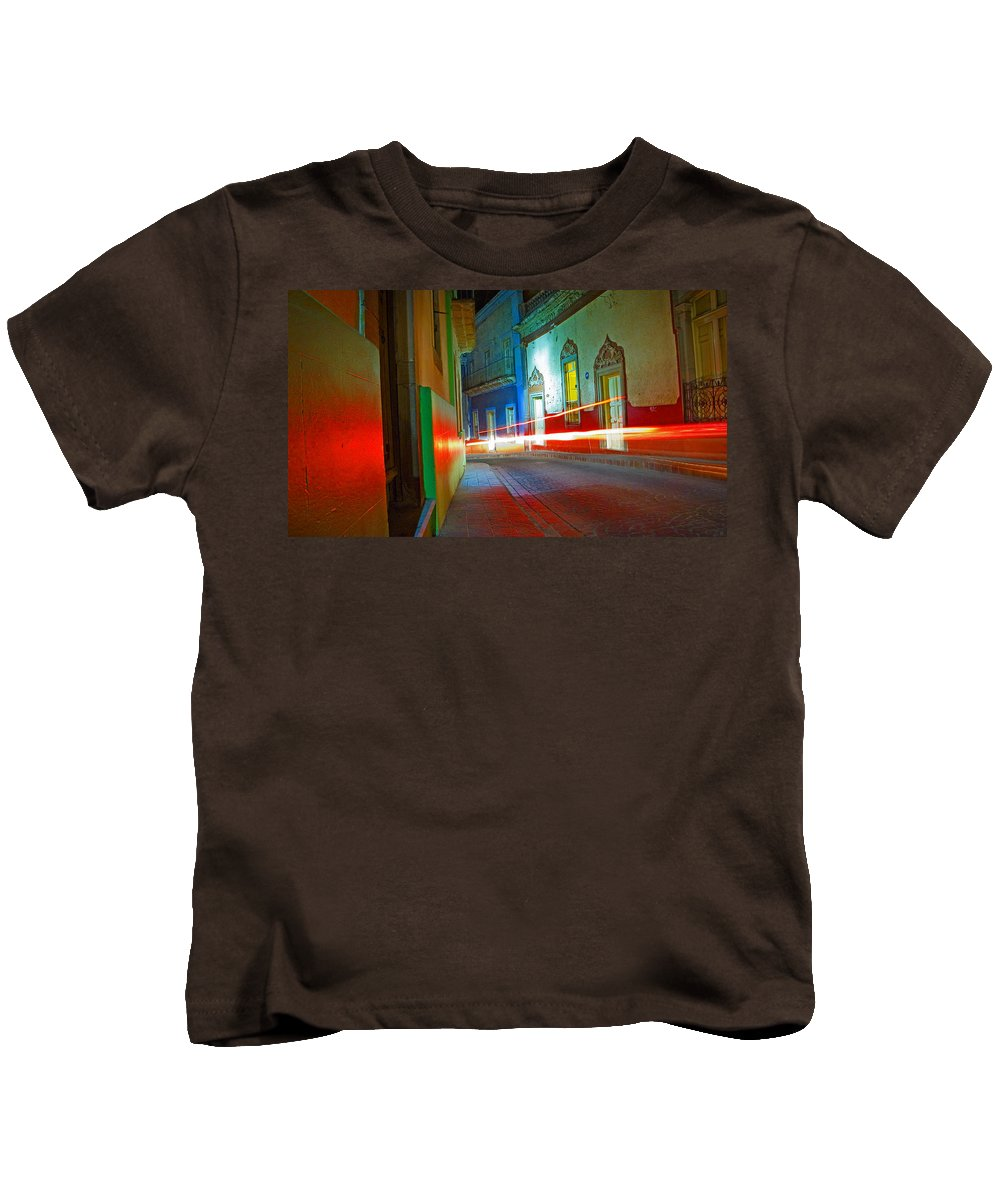 Shadow Kids T-Shirt featuring the photograph Guanajuato Night by Skip Hunt