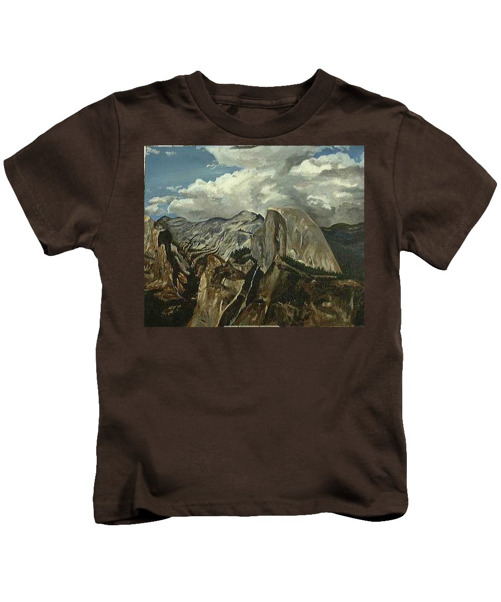 Kids T-Shirt featuring the painting Half Dome by Travis Day
