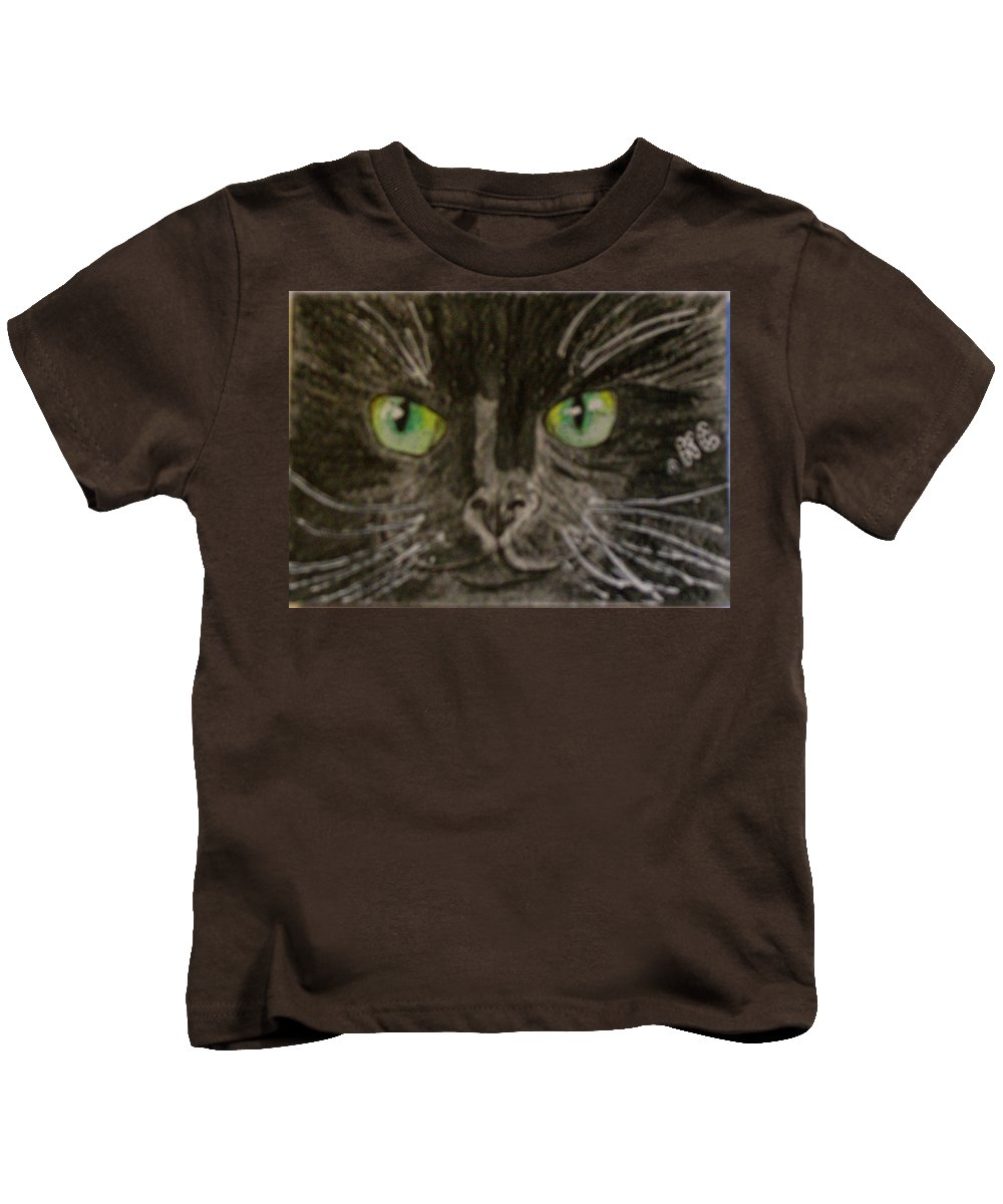 Halloween Kids T-Shirt featuring the painting Halloween Black Cat I by Kathy Marrs Chandler
