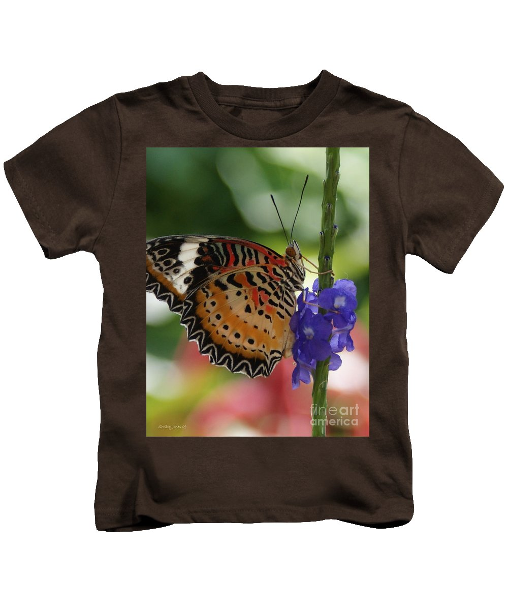 Butterfly Kids T-Shirt featuring the photograph Hanging On by Shelley Jones