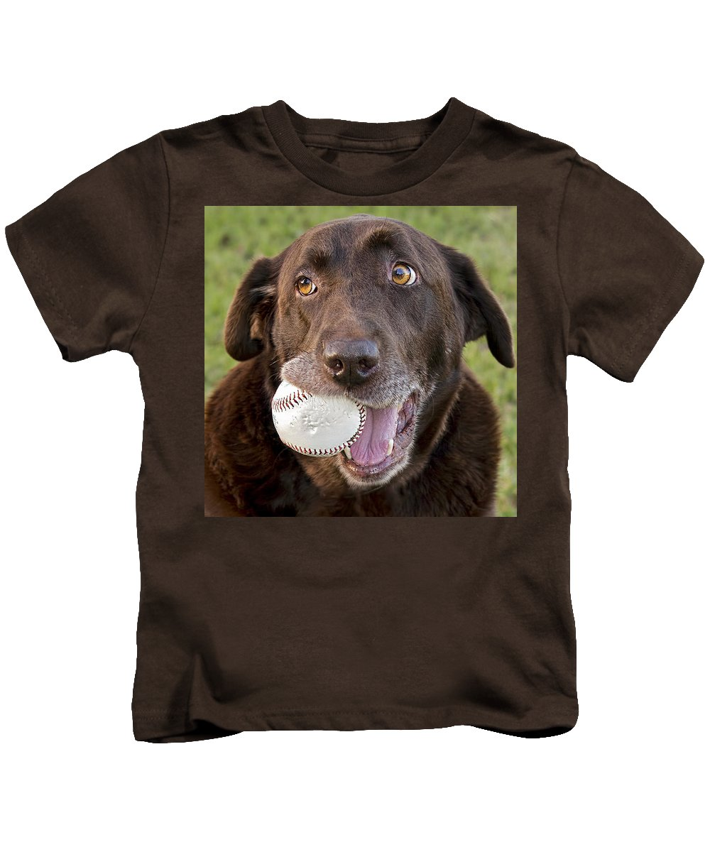 Dog Kids T-Shirt featuring the photograph Happy Dog by Laura Greene