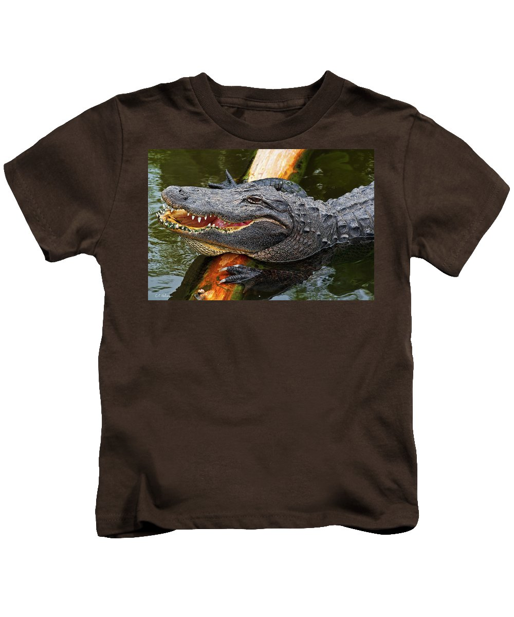 Alligator Kids T-Shirt featuring the photograph Happy Gator by Christopher Holmes