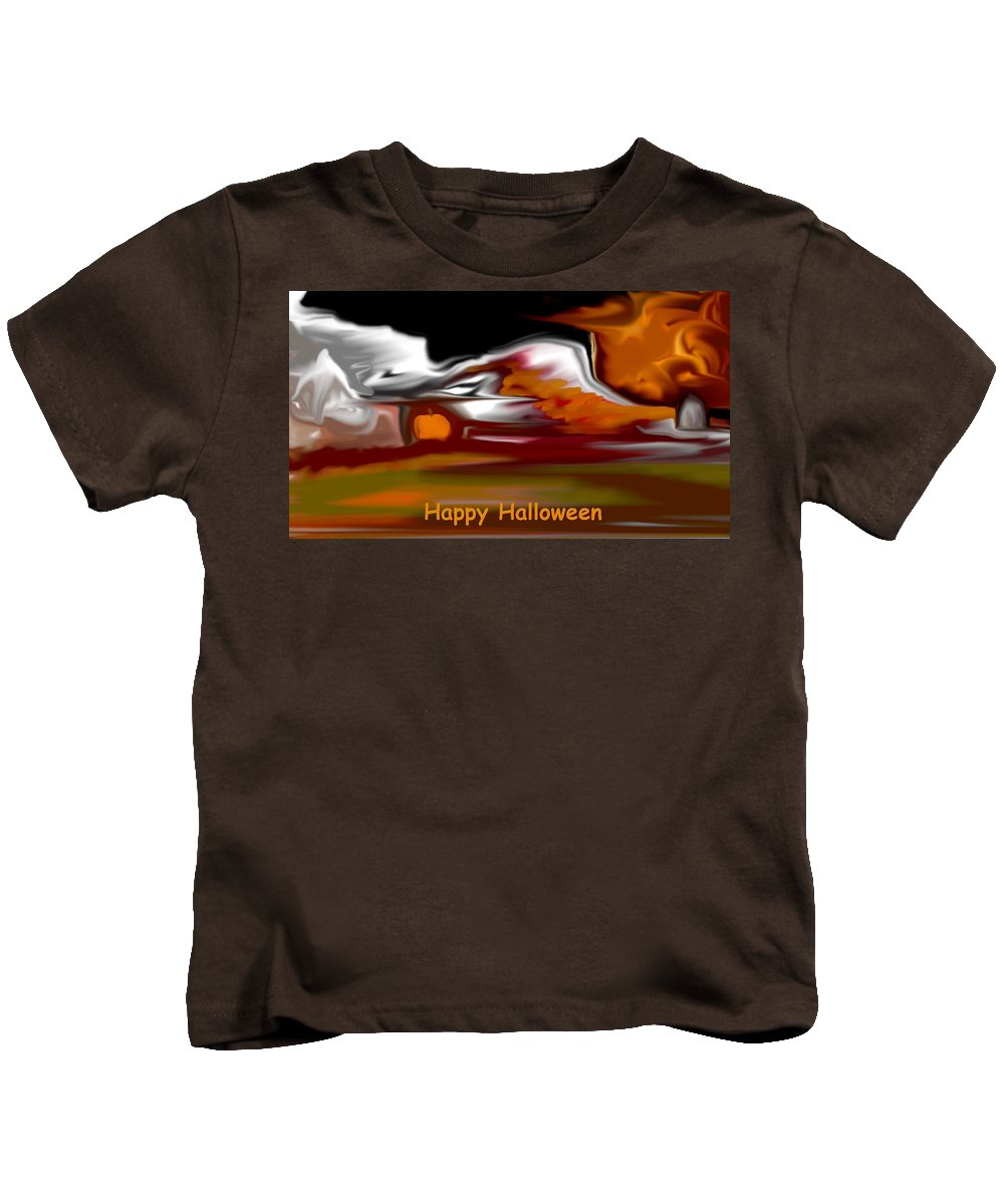 Abstract Digital Painting Kids T-Shirt featuring the digital art Happy Halloween by David Lane