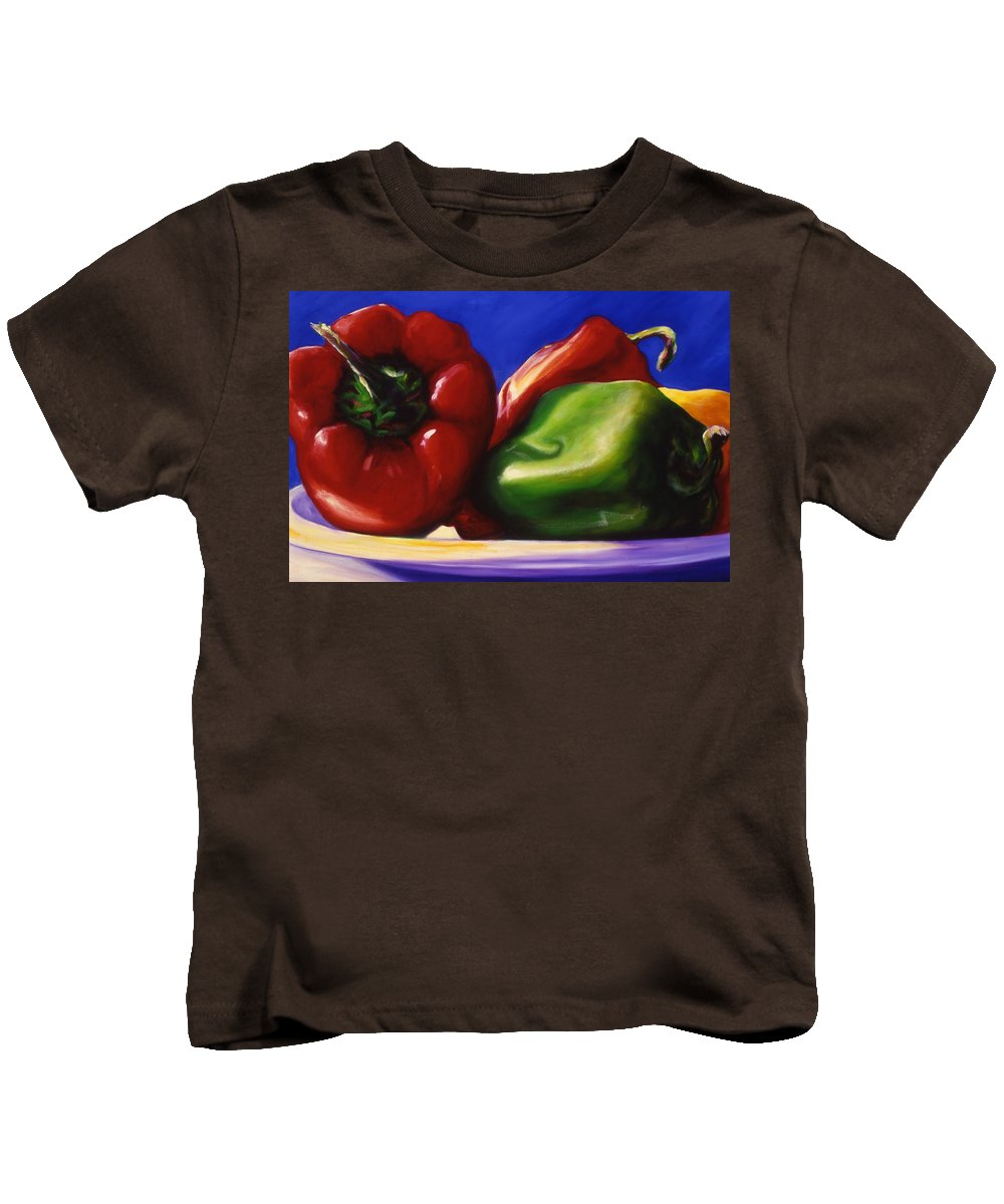 Still Life Kids T-Shirt featuring the painting Harvest Festival Peppers by Shannon Grissom