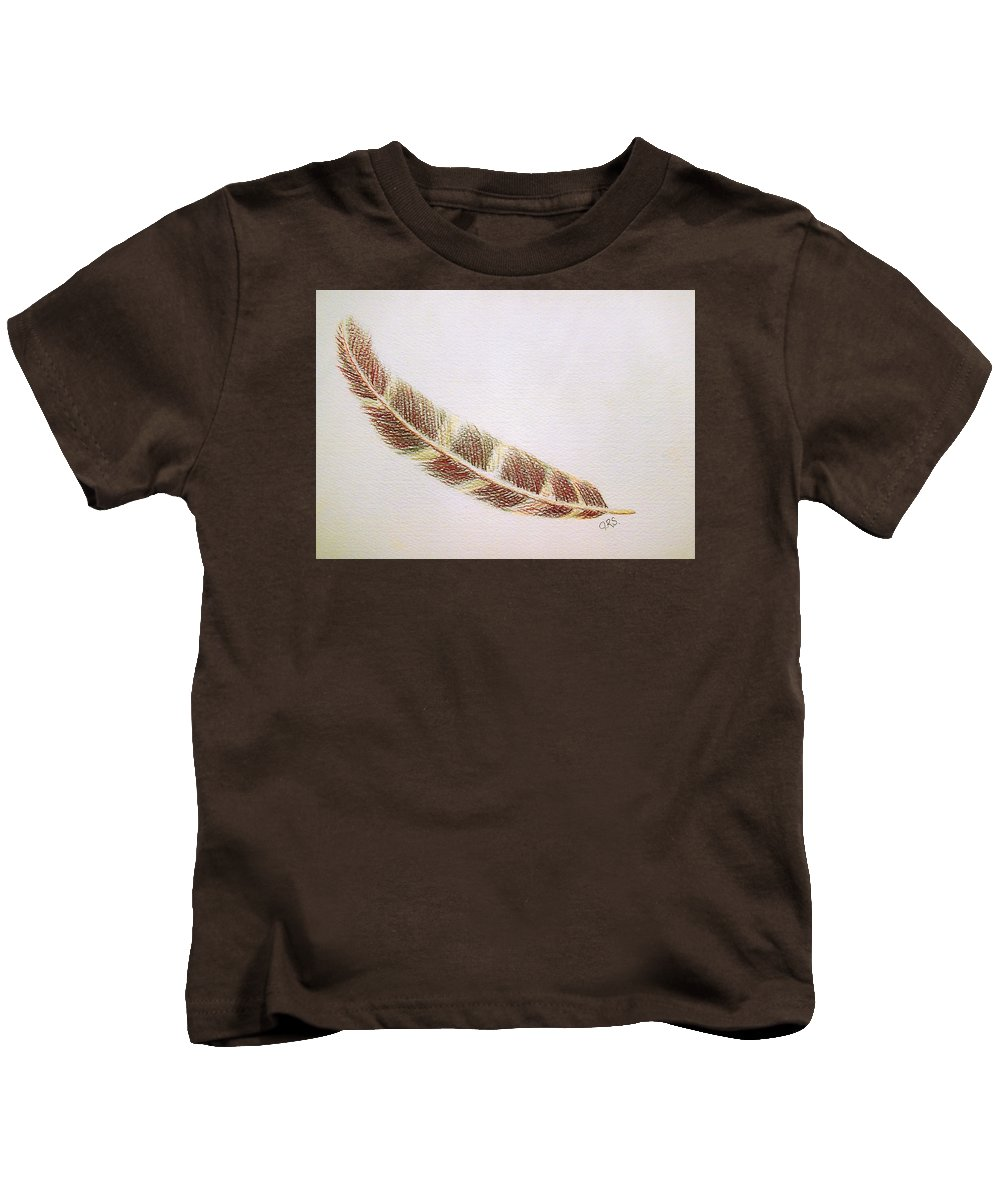 Stationery Card Kids T-Shirt featuring the drawing Hawk Feather by J R Seymour