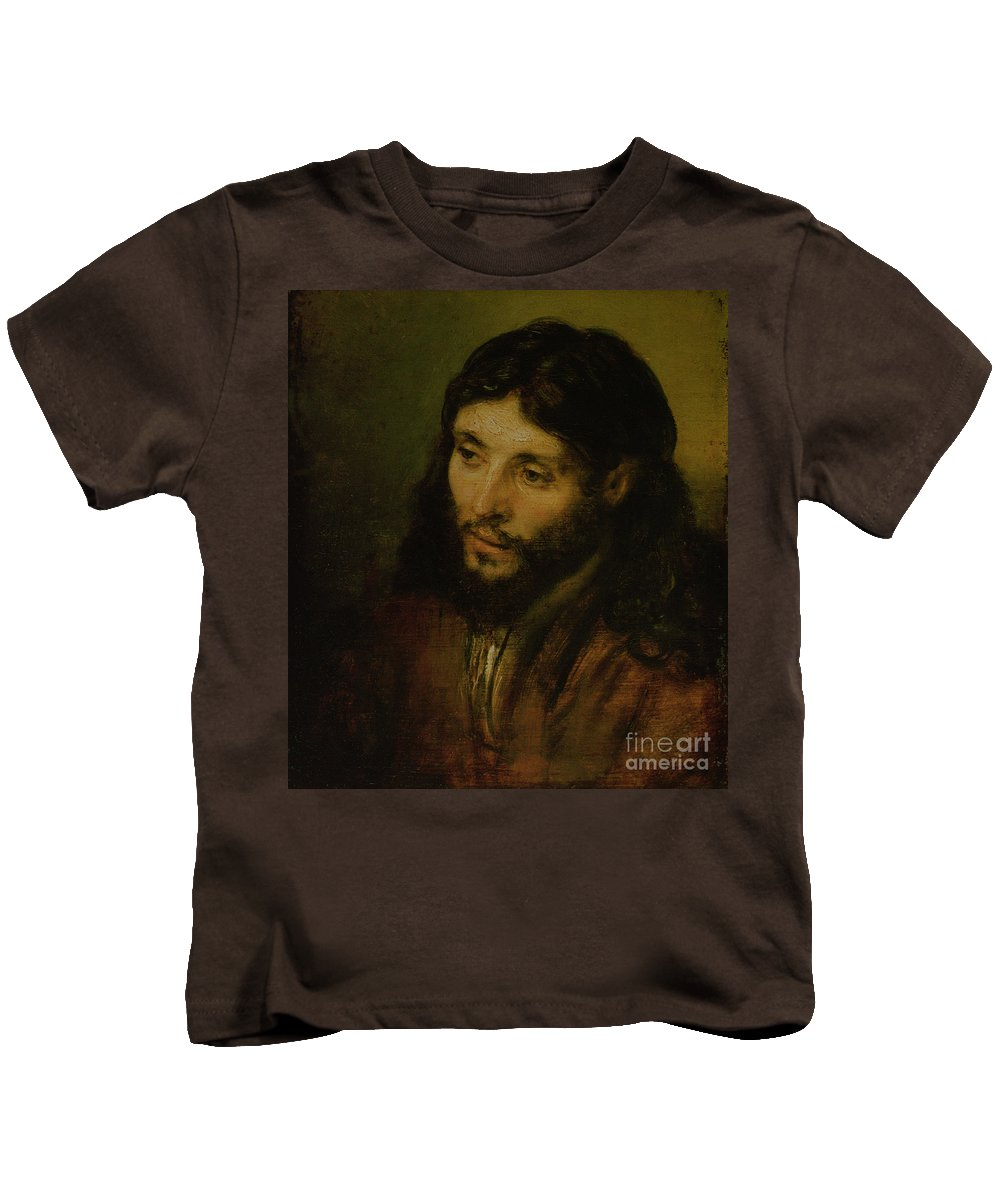 Kids T-Shirt featuring the painting Head Of Christ by Rembrandt