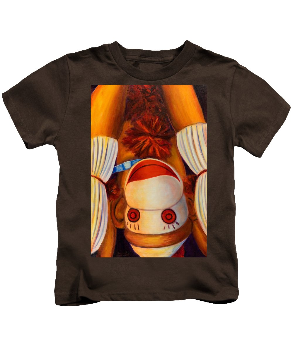 Children Kids T-Shirt featuring the painting Head-over-heels by Shannon Grissom