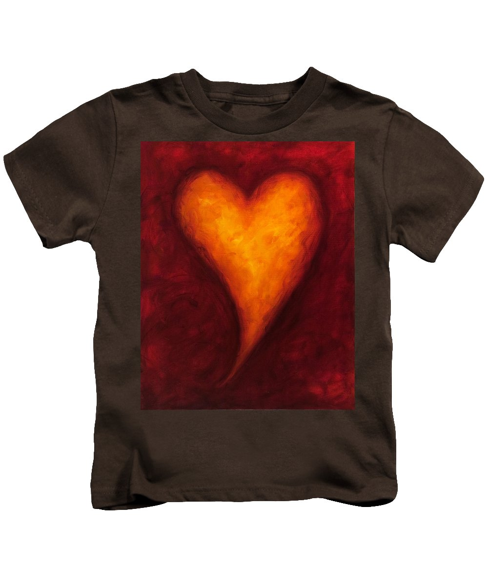 Heart Kids T-Shirt featuring the painting Heart Of Gold 2 by Shannon Grissom