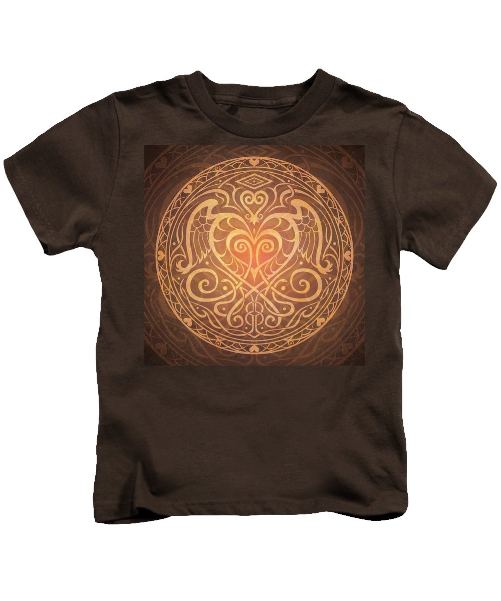 Mandala Kids T-Shirt featuring the digital art Heart Of Wisdom Mandala by Cristina McAllister