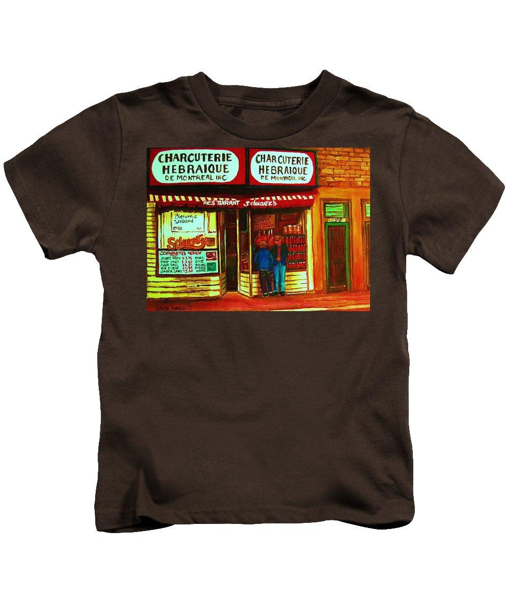 Schwartzs Kids T-Shirt featuring the painting Hebrew Delicatessen by Carole Spandau