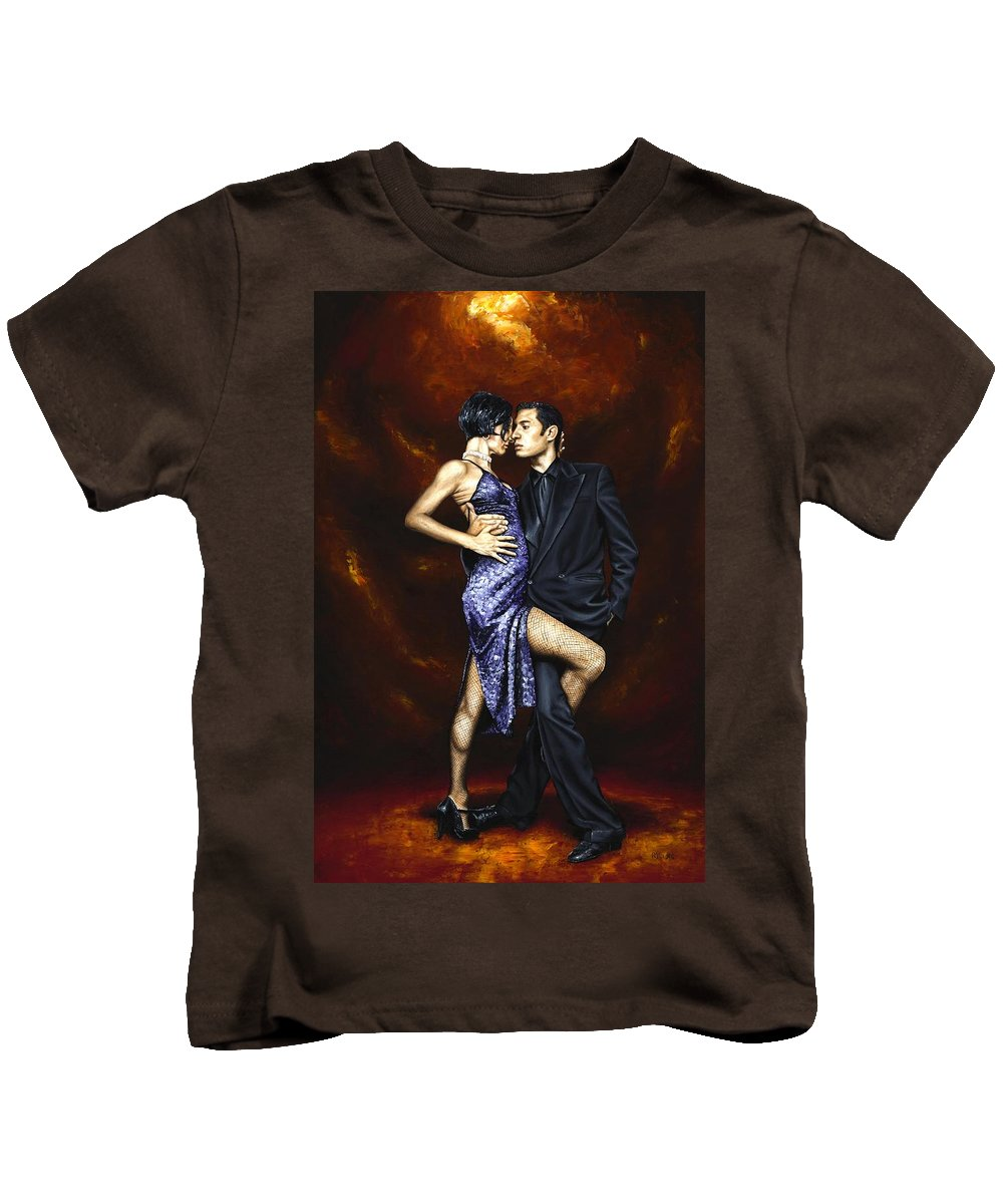 Tango Dancers Love Passion Female Male Woman Man Dance Kids T-Shirt featuring the painting Held In Tango by Richard Young