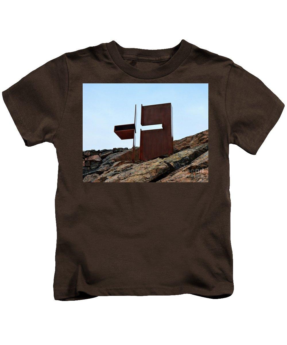 Temppeliaukion Kirkko Kids T-Shirt featuring the photograph Helsinki Rock Church Cross by Catherine Sherman