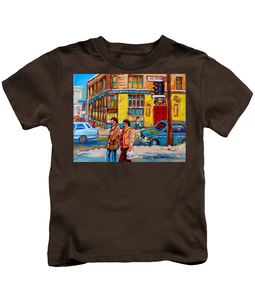 Downtown Montreal Kids T-Shirt featuring the painting Henry Birks On St Catherine Street by Carole Spandau