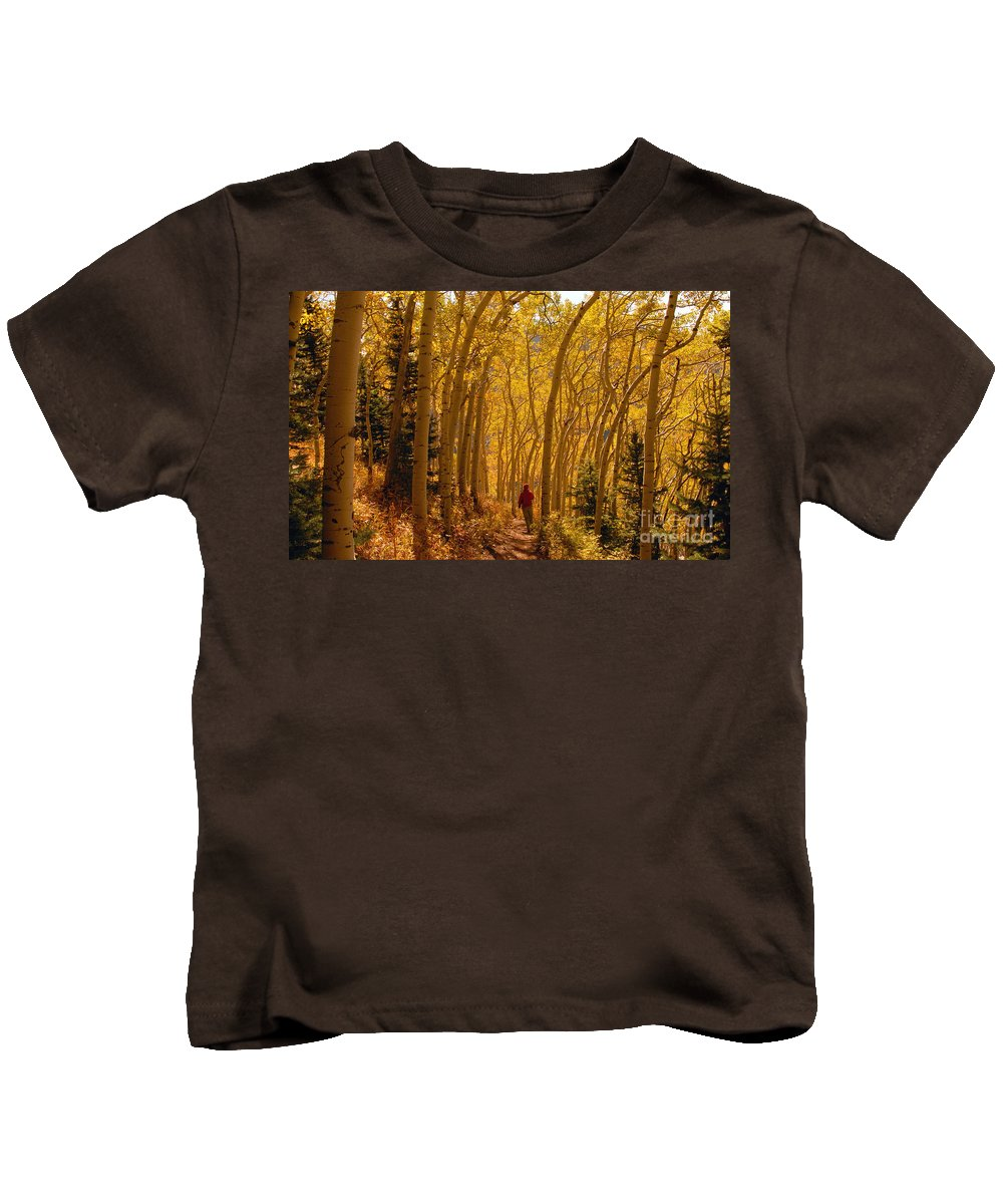 Fall Kids T-Shirt featuring the photograph Hiking In Fall Aspens by David Lee Thompson