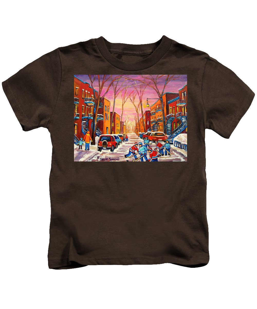 Hockey Kids T-Shirt featuring the painting Hockey On Hotel De Ville Street by Carole Spandau