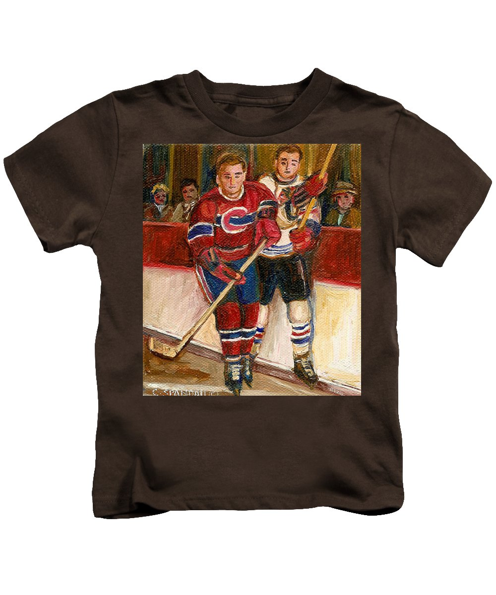 Hockey Kids T-Shirt featuring the painting Hockey Stars At The Forum by Carole Spandau