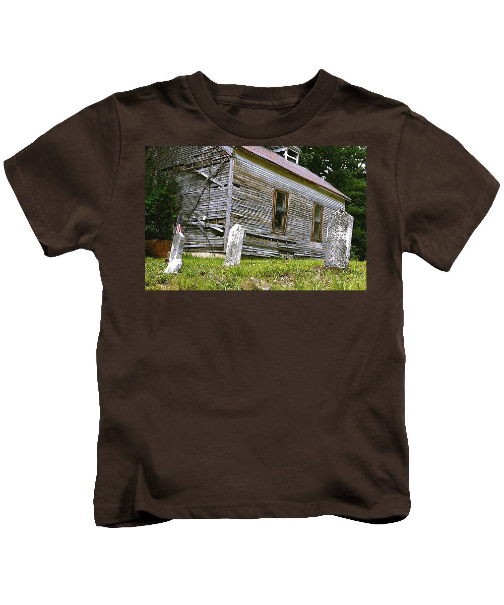 Church Kids T-Shirt featuring the photograph Hocking Hills Church by Nelson Strong