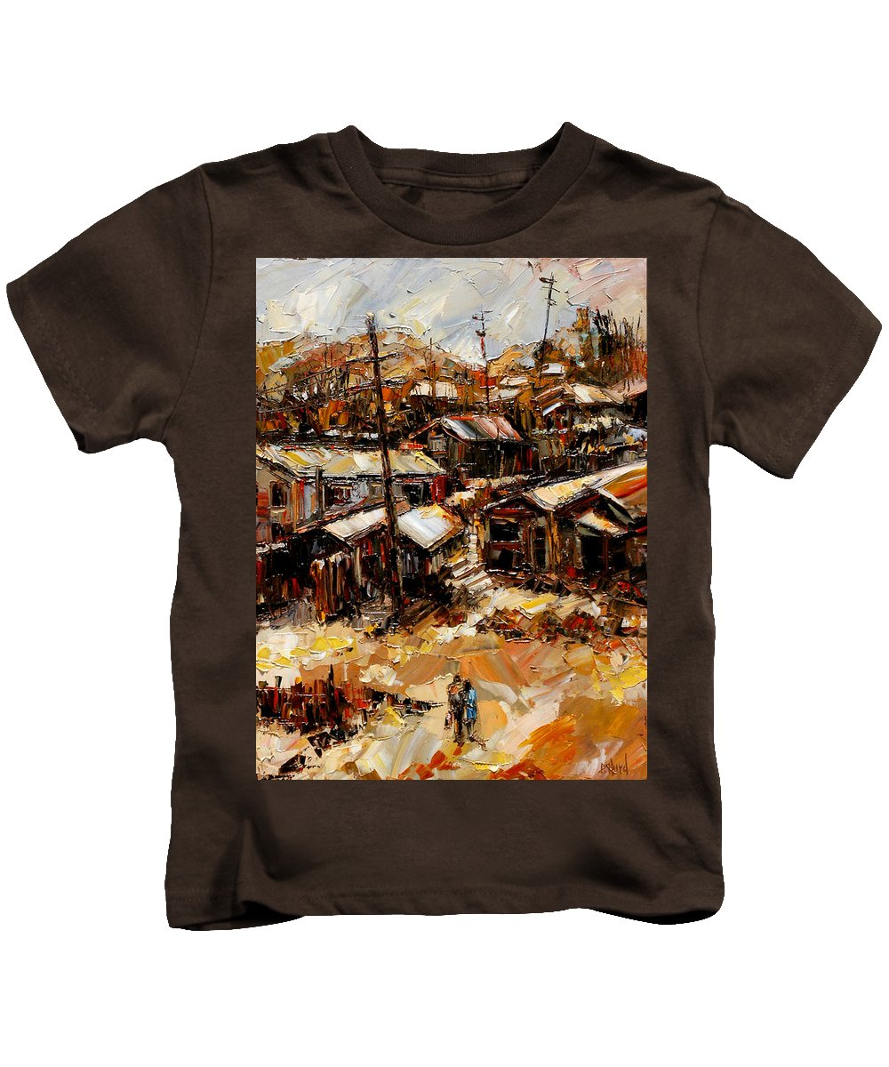 Chaves Revine Kids T-Shirt featuring the painting Homes In The Hills Chaves Revine by Debra Hurd