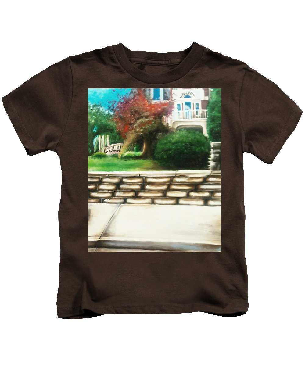Home Kids T-Shirt featuring the painting Hometown Garden by Corina Castillo