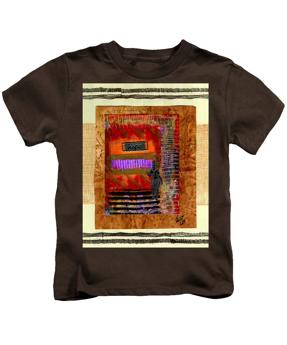 Gretting Cards Kids T-Shirt featuring the mixed media Hope Advocate by Angela L Walker