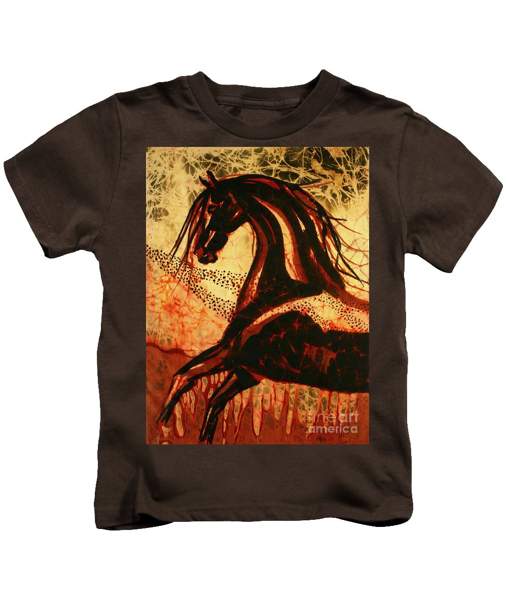 Equine Kids T-Shirt featuring the tapestry - textile Horse Through Web Of Fire by Carol Law Conklin