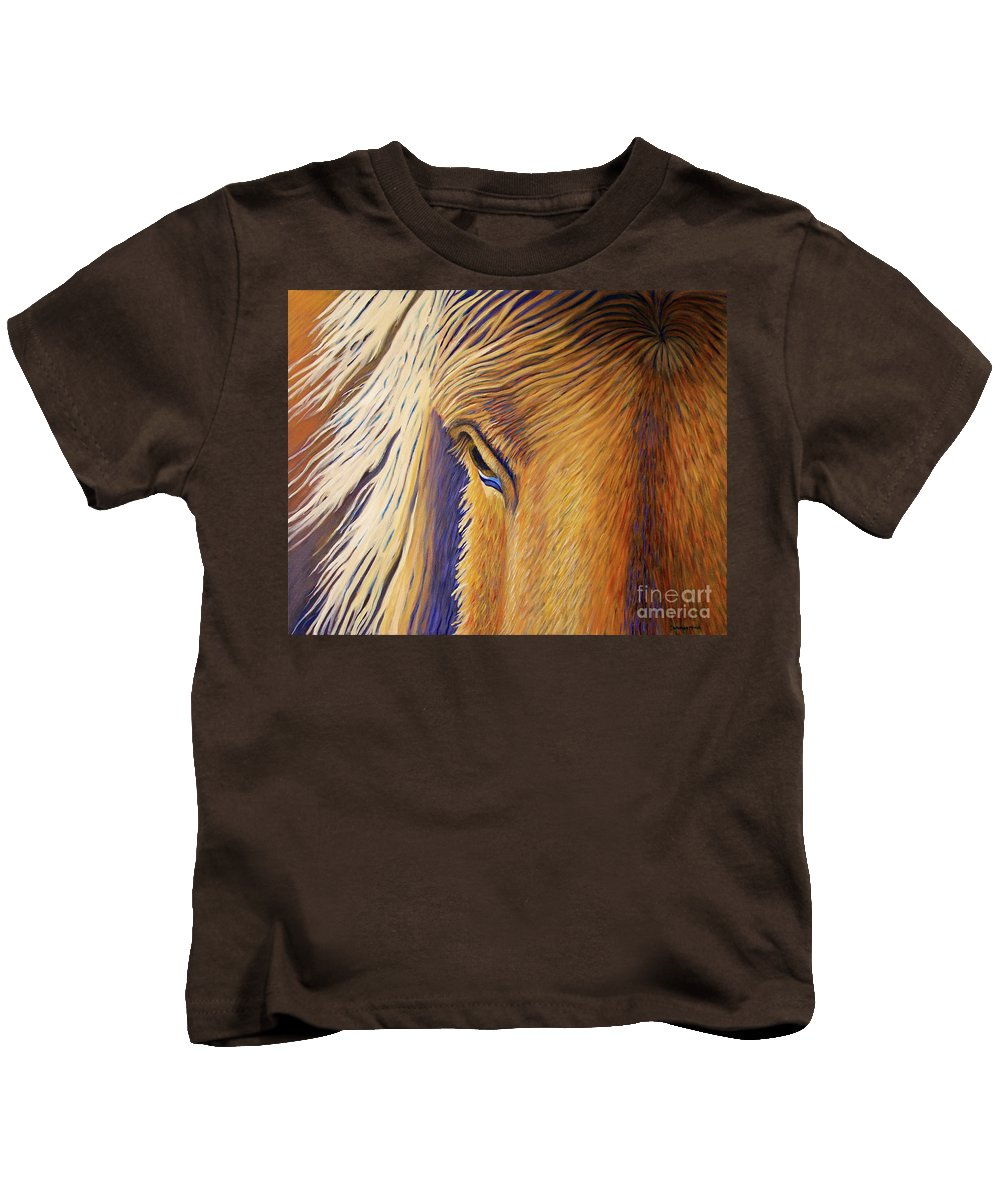 Horse Kids T-Shirt featuring the painting Horsepower by Brian Commerford