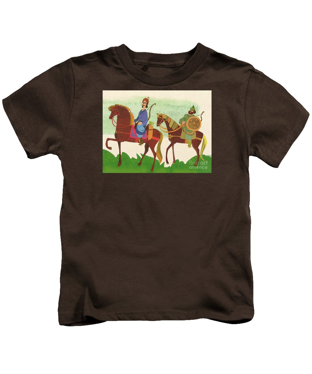 Horses Kids T-Shirt featuring the painting Horses by Sara