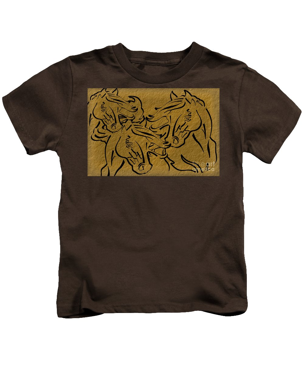 Horse Kids T-Shirt featuring the digital art Horses Three by Tim Hightower