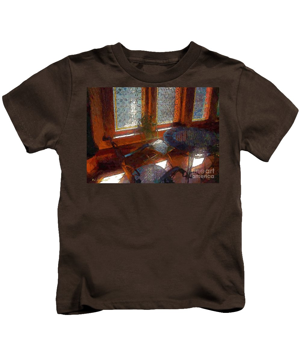 Chairs Kids T-Shirt featuring the painting Hot Sun On Wrought Iron by RC DeWinter