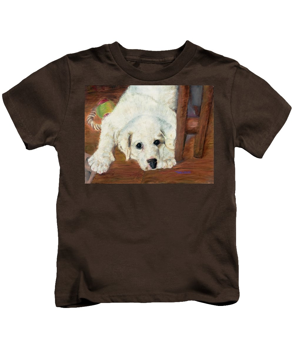 Dog Kids T-Shirt featuring the painting Hummer by Terry Lewey