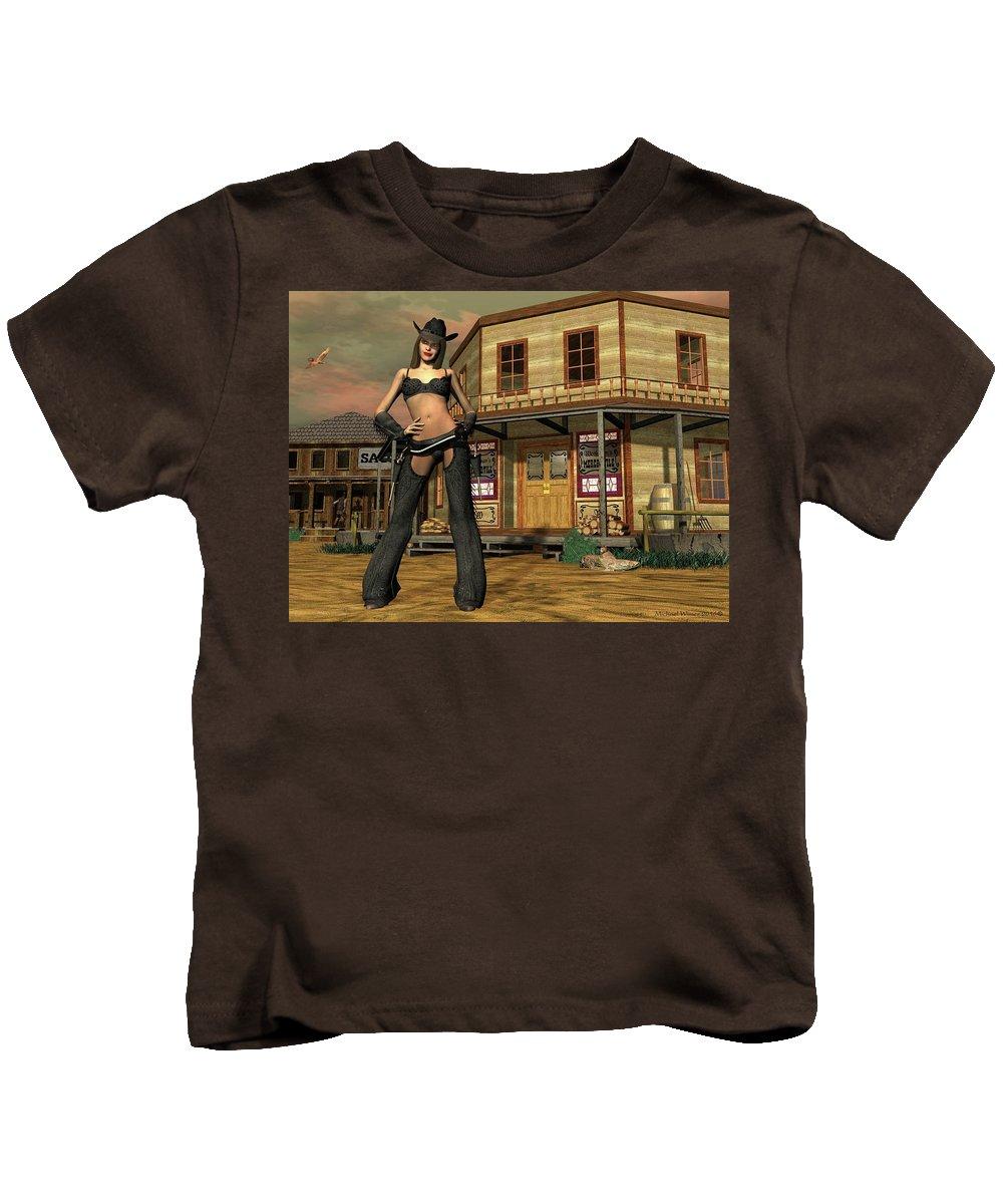 Digital Art Kids T-Shirt featuring the digital art I Lost My Shirt Playing Poker by Michael Wimer
