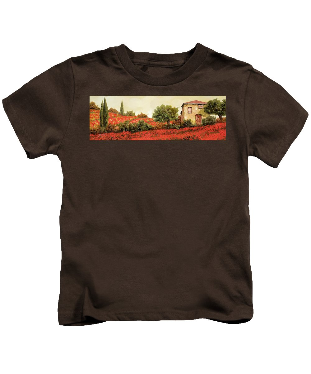 Poppy Kids T-Shirt featuring the painting I Papaveri Sulla Collina by Guido Borelli