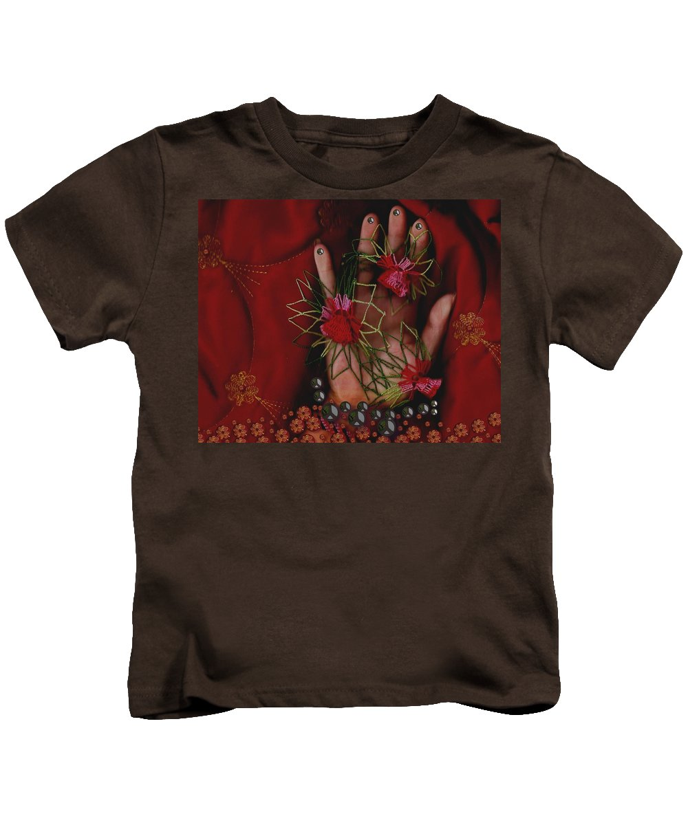 Hand Kids T-Shirt featuring the mixed media I Reach Love Peace In Life With My Hand by Pepita Selles