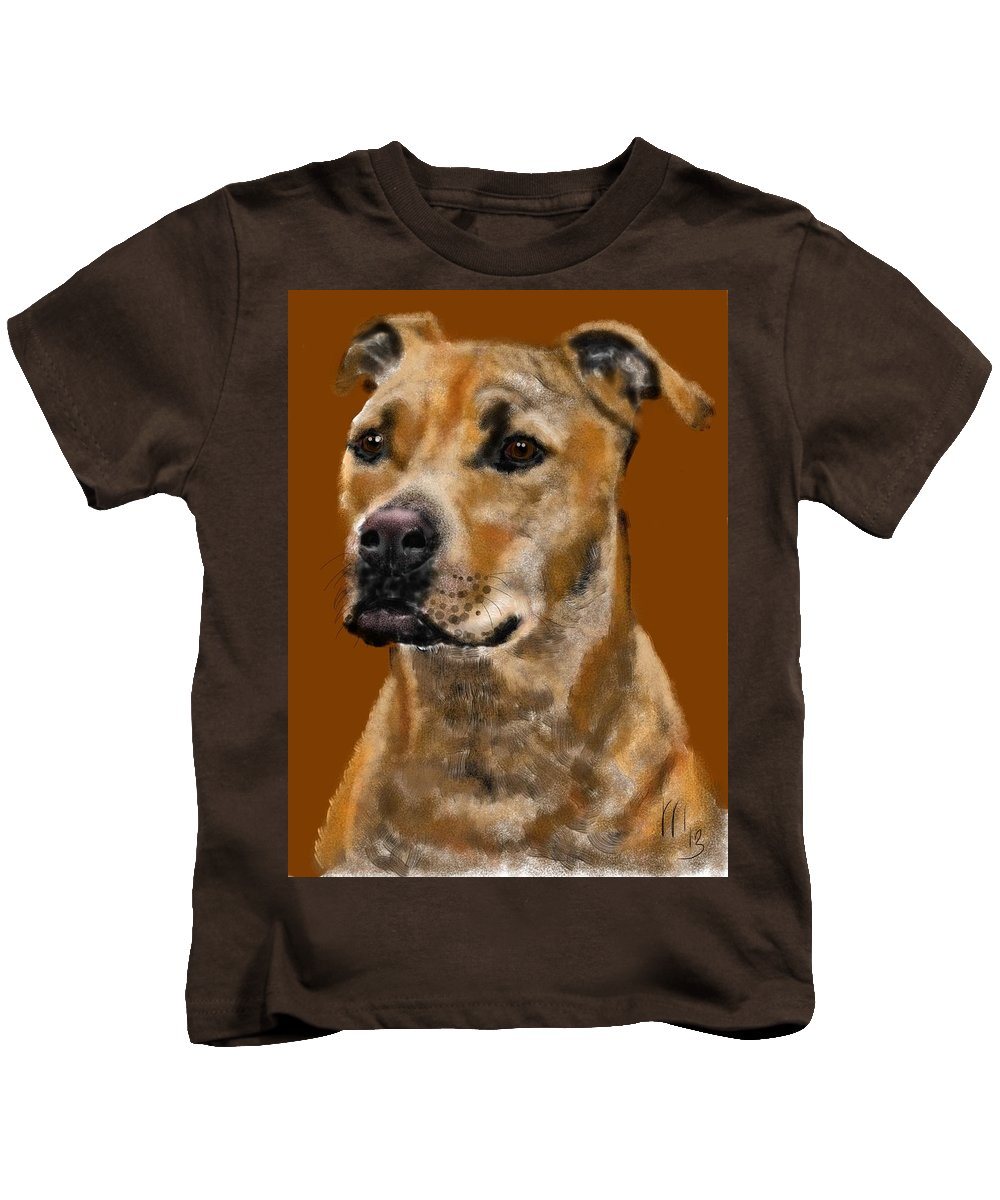 Animals Kids T-Shirt featuring the painting I Wonder What He's Thinking by Lois Ivancin Tavaf