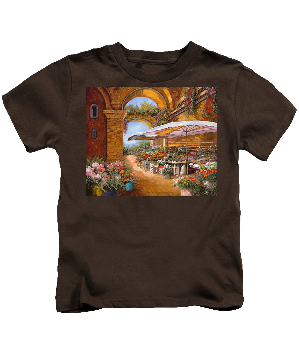 Market Kids T-Shirt featuring the painting Il Mercato Sotto I Portici by Guido Borelli