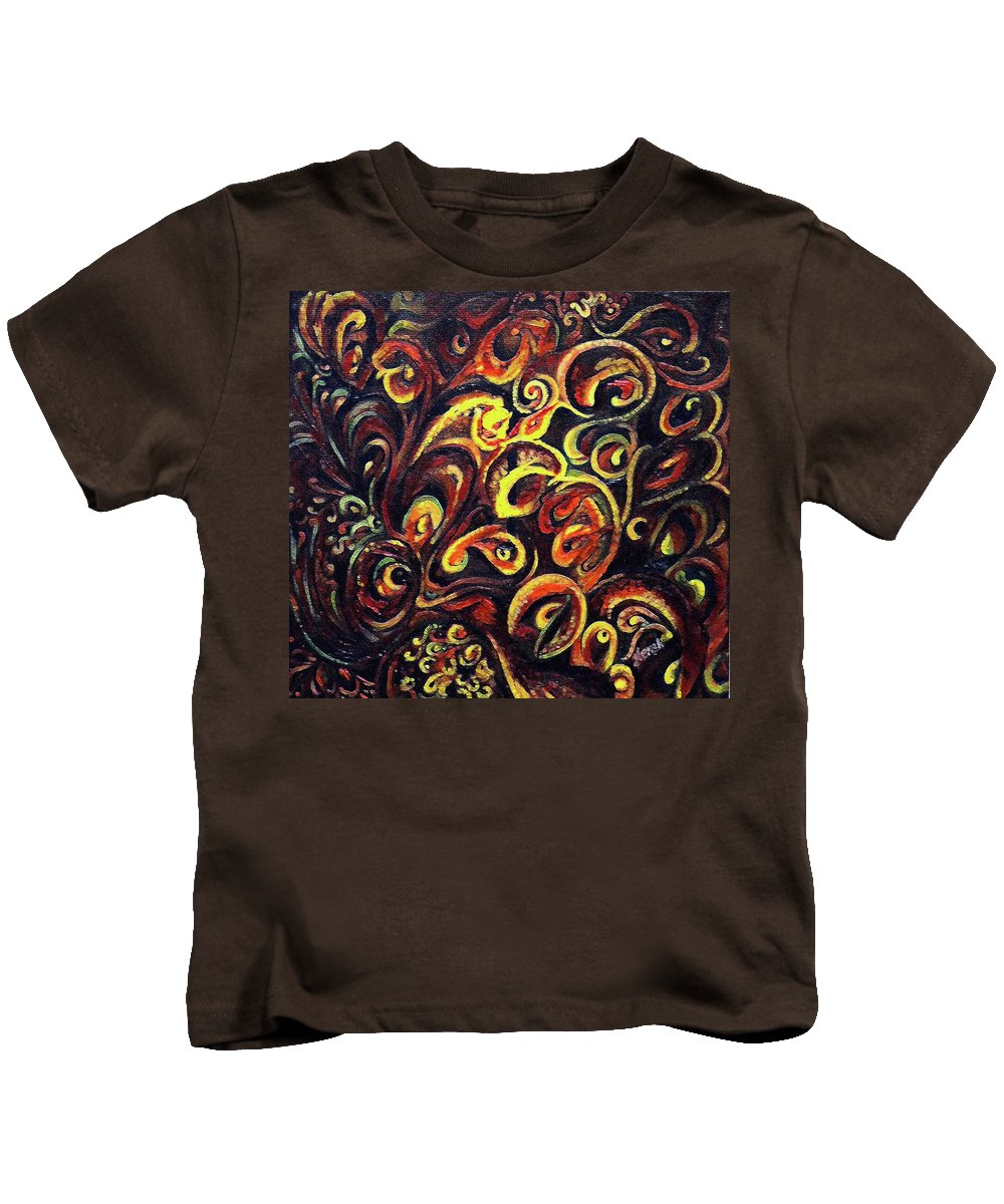 Aum Kids T-Shirt featuring the painting In Search Of Ultimate Truth by Harsh Malik