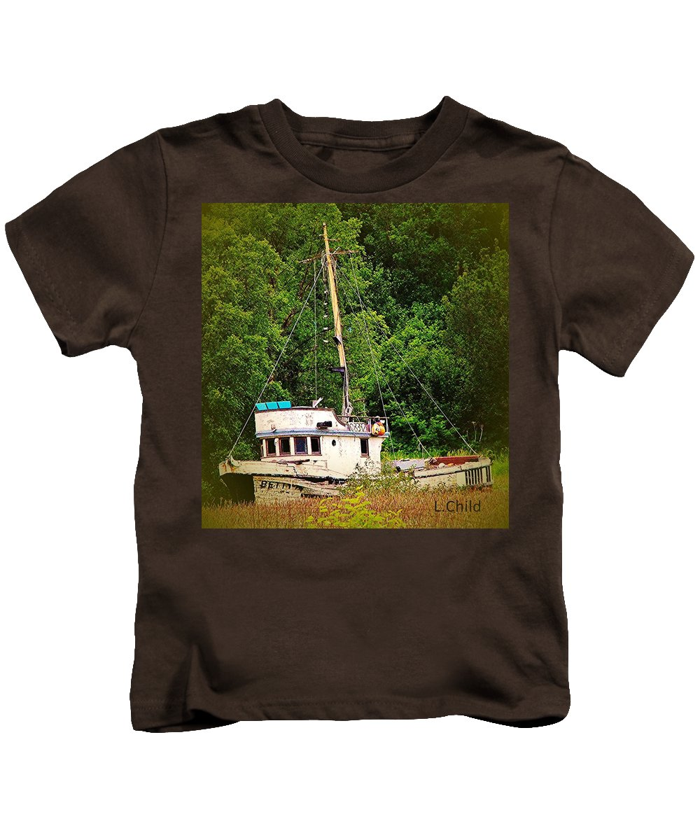 Boats Kids T-Shirt featuring the photograph In The Garden by Lori Mahaffey