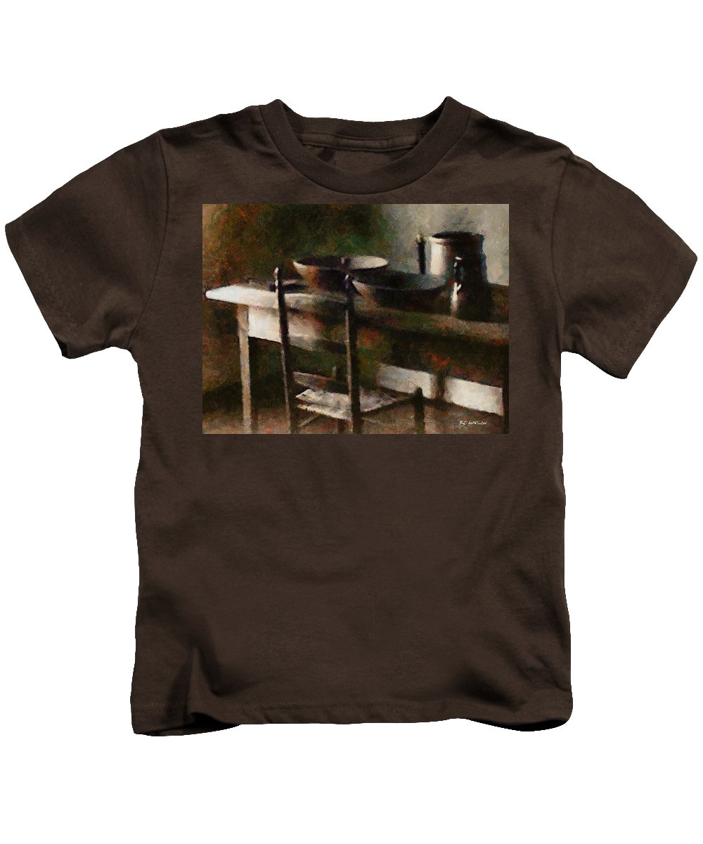 Kitchen Kids T-Shirt featuring the painting In The Shaker Kitchen by RC DeWinter