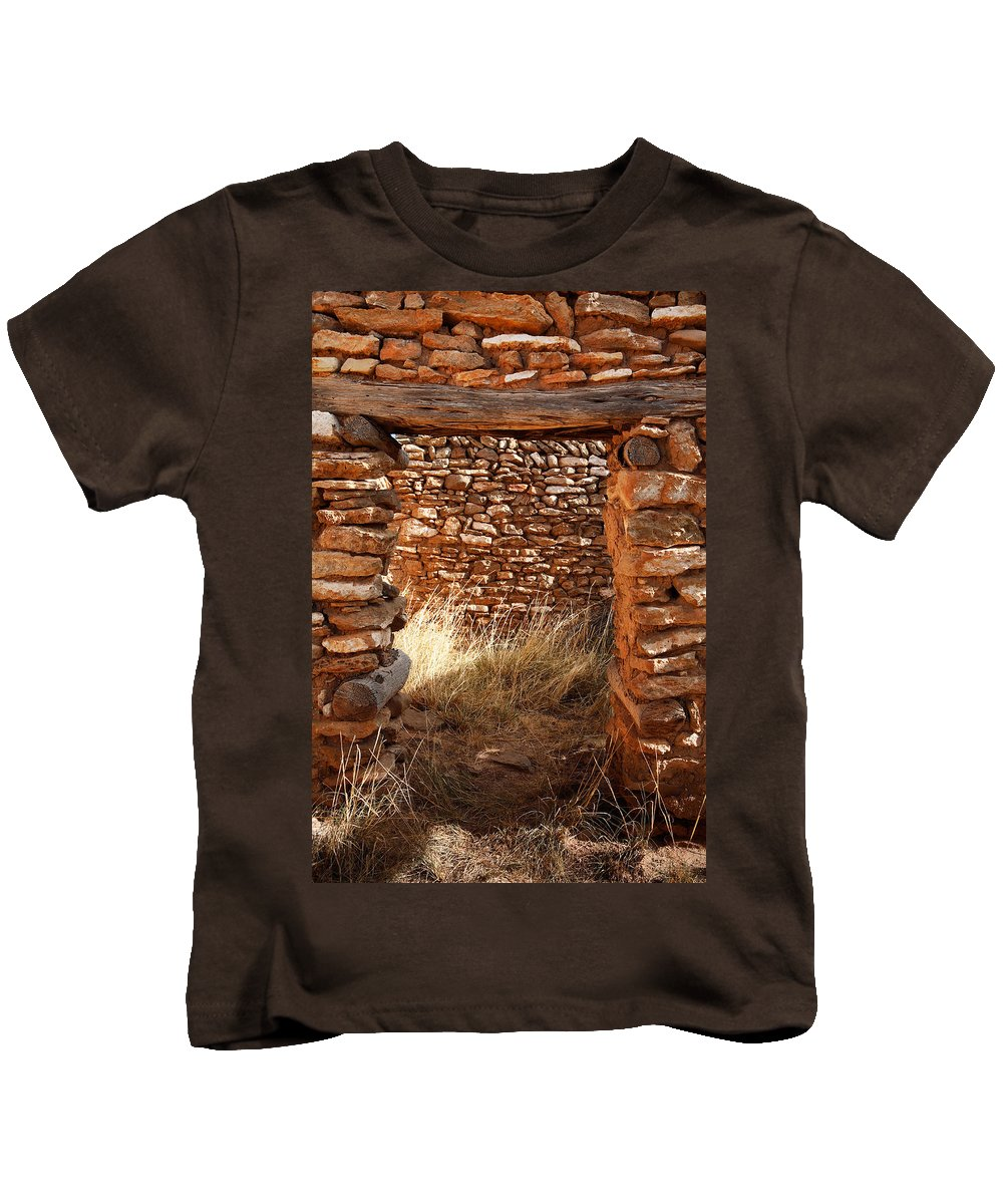 New Mexico Kids T-Shirt featuring the photograph Indian Ruins Doorway by Matt Suess