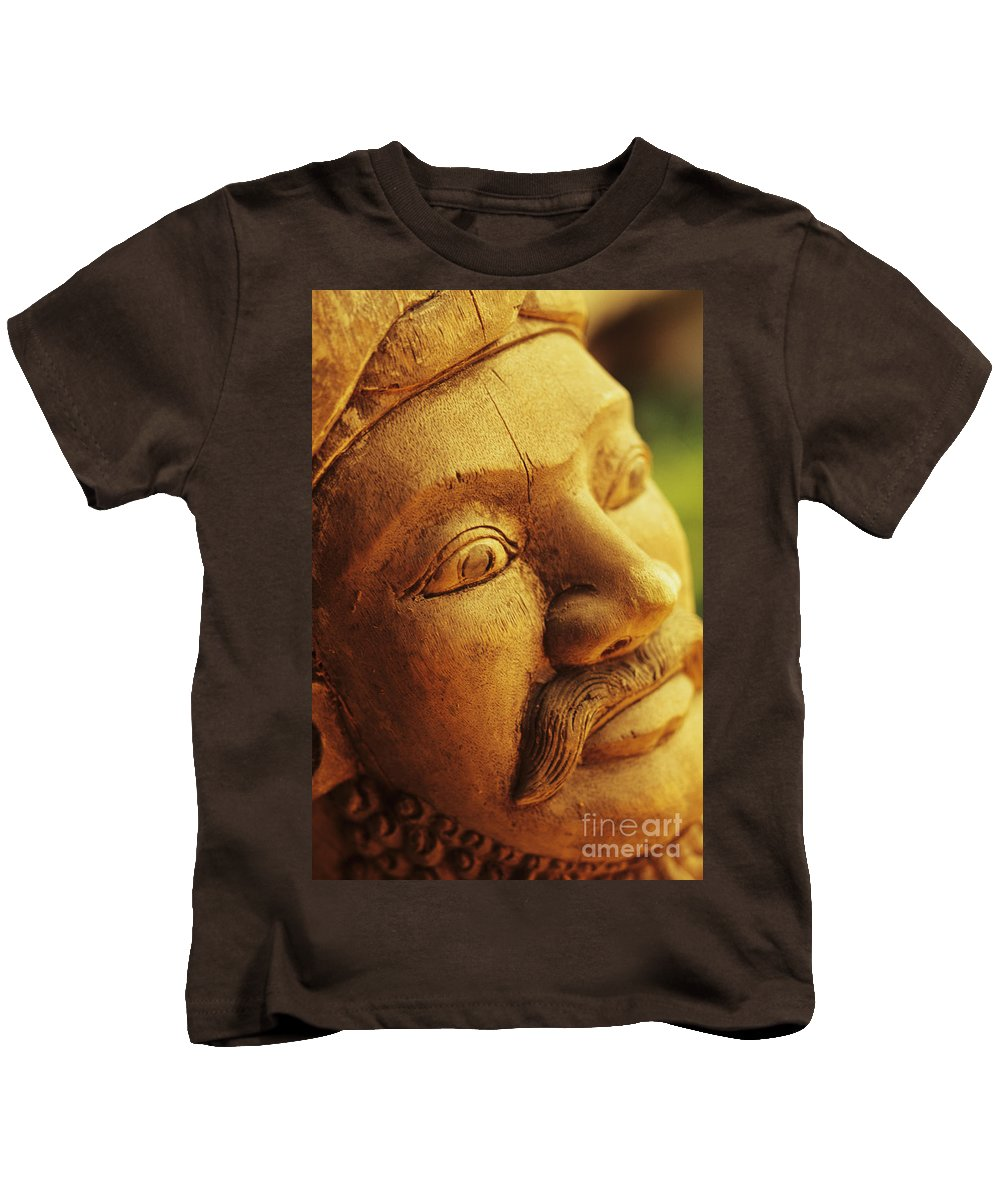 Art Kids T-Shirt featuring the photograph Indonesian Wood Carving by Dana Edmunds - Printscapes