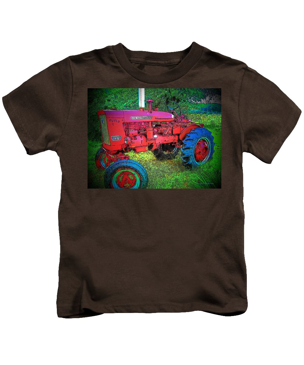 Tractor Kids T-Shirt featuring the photograph International by Terry Anderson