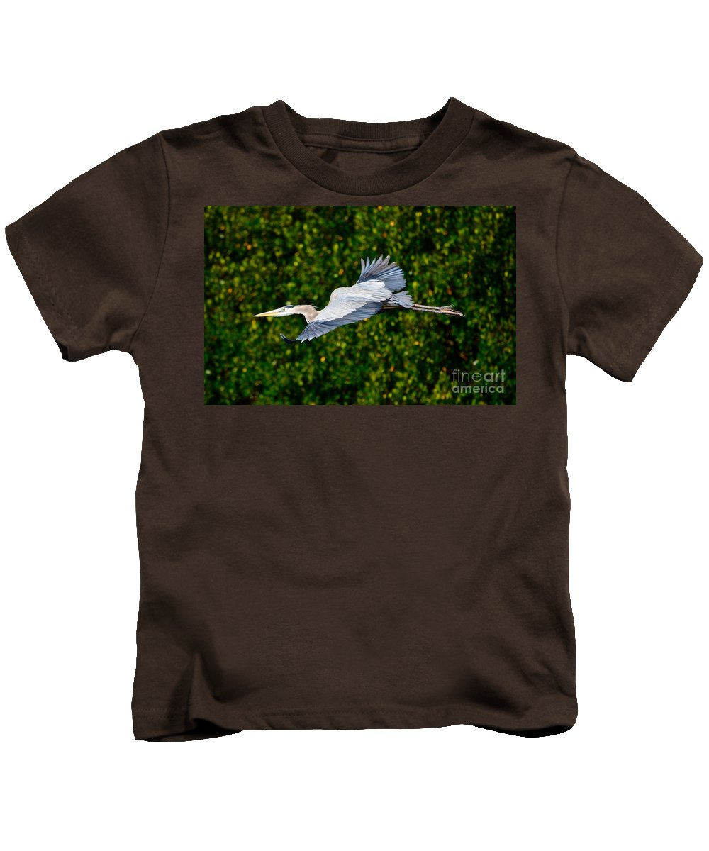 Great Blue Heron Kids T-Shirt featuring the photograph Into The Mangroves by Andrea Spritzer