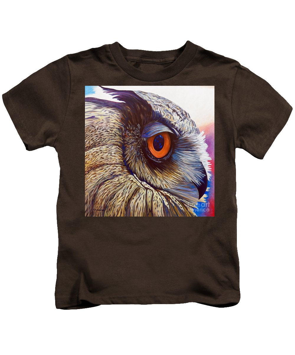 Owl Kids T-Shirt featuring the painting Introspection by Brian Commerford