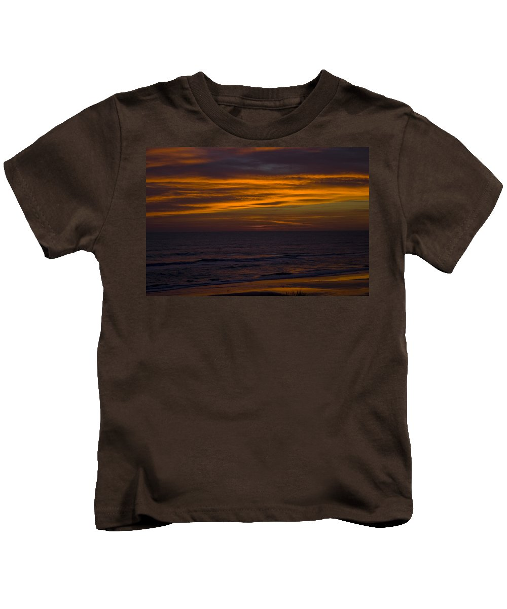 Beach Ocean Water Wave Waves Sky Cloud Clouds Sunrise Gold Golden Reflection Sand Kids T-Shirt featuring the photograph Invisible Presence by Andrei Shliakhau