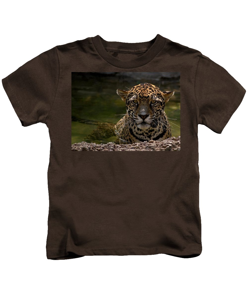 Jaguar Kids T-Shirt featuring the photograph Jaguar In The Water by Sandy Keeton