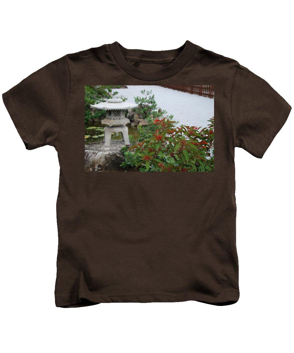 Rocks Kids T-Shirt featuring the photograph Japanese Garden Lantern by Rob Hans