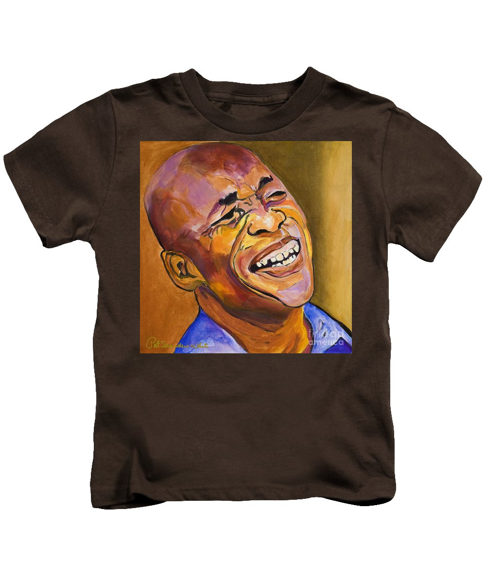 Portraits Kids T-Shirt featuring the painting Jazz Man by Pat Saunders-White