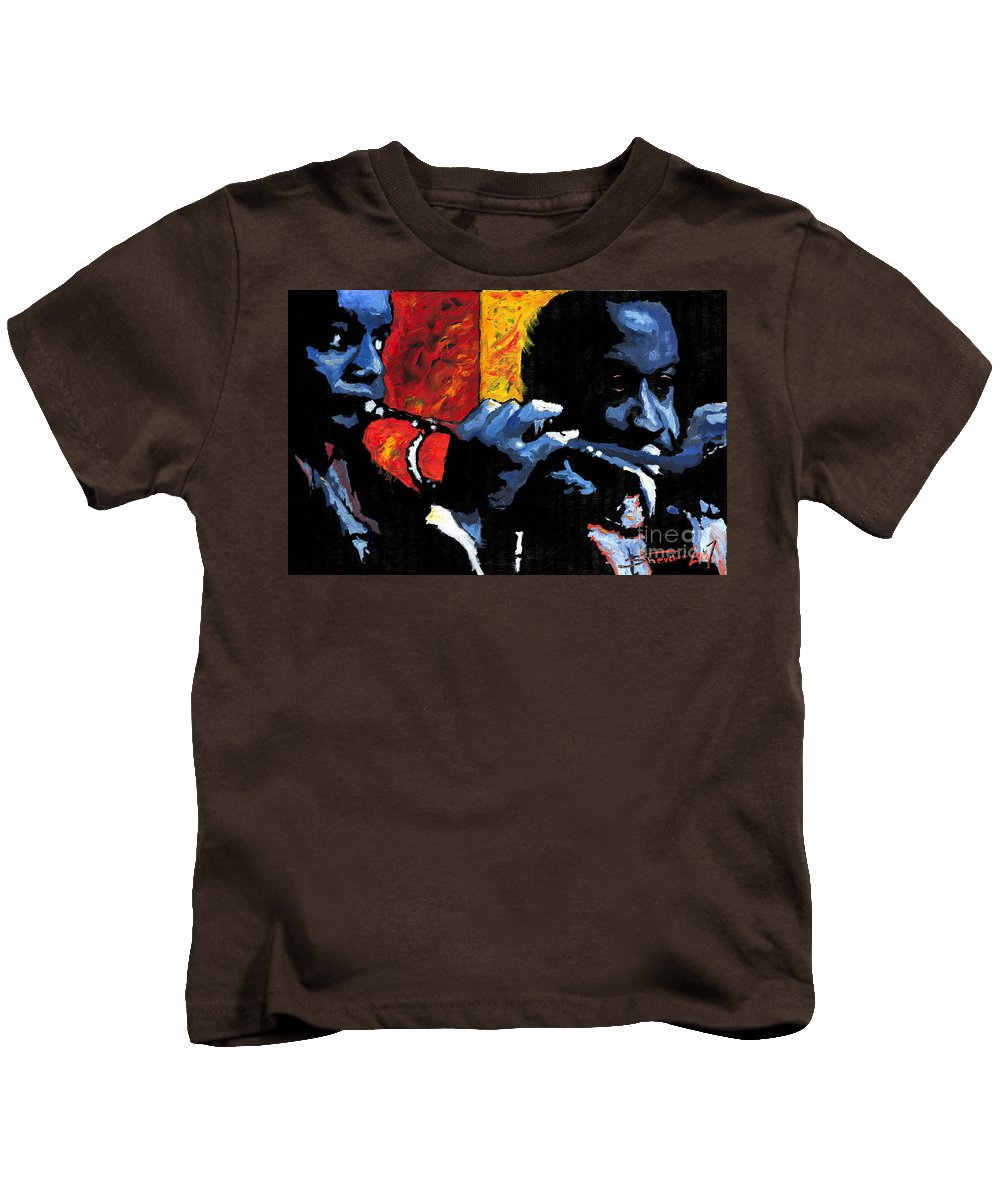 Jazz Kids T-Shirt featuring the painting Jazz Trumpeters by Yuriy Shevchuk
