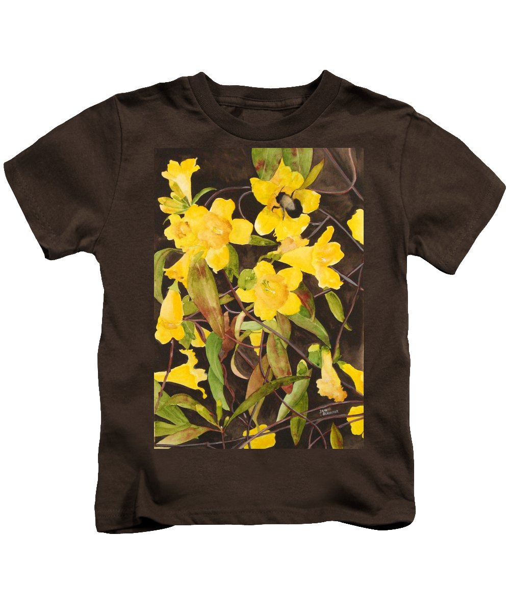 Flowers Kids T-Shirt featuring the painting Jessamine Jungle by Jean Blackmer
